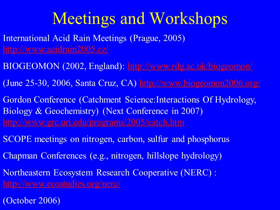 Meetings and Workshops International Acid Rain Meetings (Prague, 2005) http://www.acidrain2005.cz/ http://www.acidrain2005.cz/ BIOGEOMON (2002, England): http://www.rdg.ac.uk/biogeomon/http://www.rdg.ac.uk/biogeomon/ (June 25-30, 2006, Santa Cruz, CA) http://www.biogeomon2006.org/http://www.biogeomon2006.org/ Gordon Conference (Catchment Science:Interactions Of Hydrology, Biology & Geochemistry) (Next Conference in 2007) http://www.grc.uri.edu/programs/2005/catch.htm http://www.grc.uri.edu/programs/2005/catch.htm SCOPE meetings on nitrogen, carbon, sulfur and phosphorus Chapman Conferences (e.g., nitrogen, hillslope hydrology) Northeastern Ecosystem Research Cooperative (NERC) : http://www.ecostudies.org/nerc/ http://www.ecostudies.org/nerc/ (October 2006)