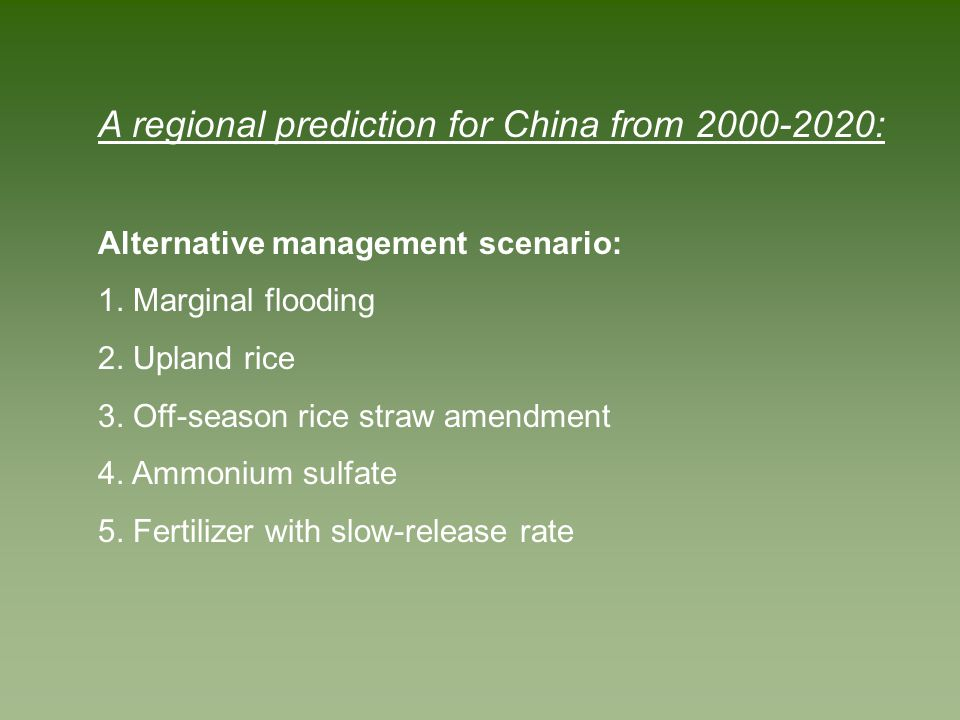 A regional prediction for China from 2000-2020: Alternative management scenario: 1. Marginal flooding 2. Upland rice 3. Off-season rice straw amendmen