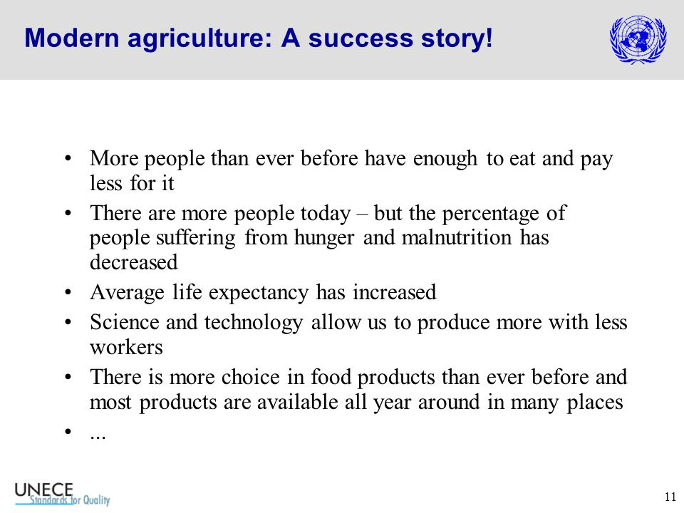 11 Modern agriculture: A success story.