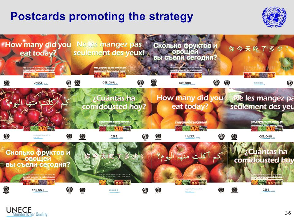 36 Postcards promoting the strategy
