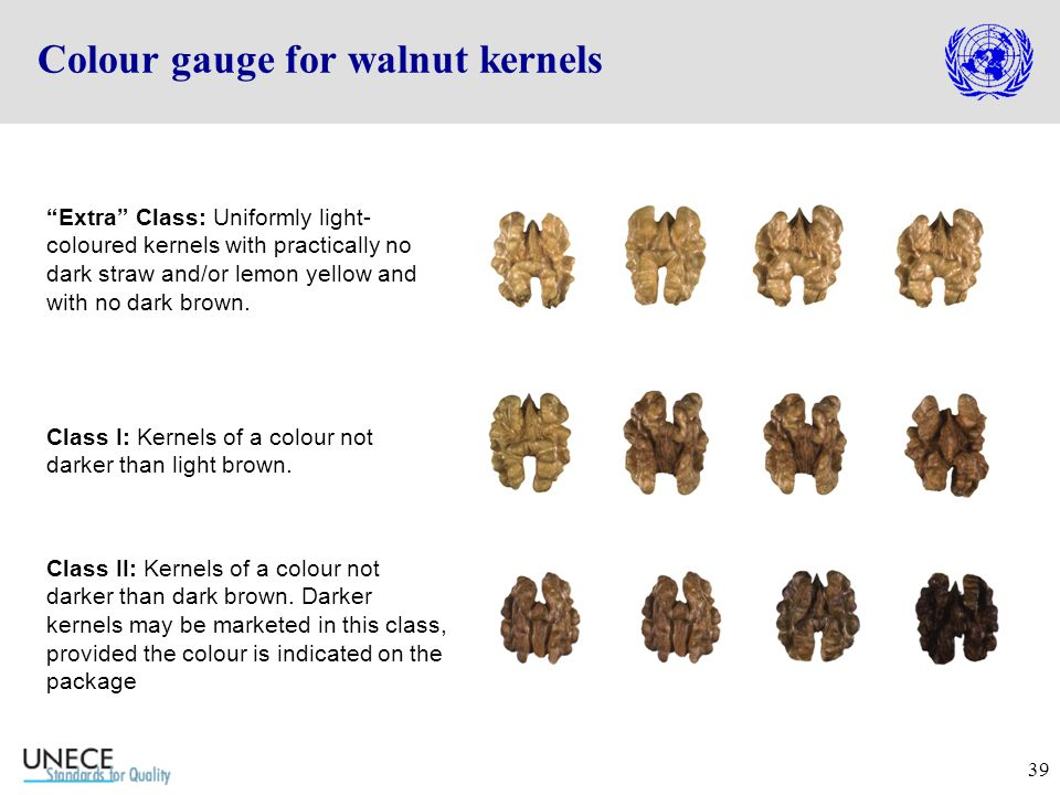 39 Colour gauge for walnut kernels Extra Class: Uniformly light- coloured kernels with practically no dark straw and/or lemon yellow and with no dark brown.