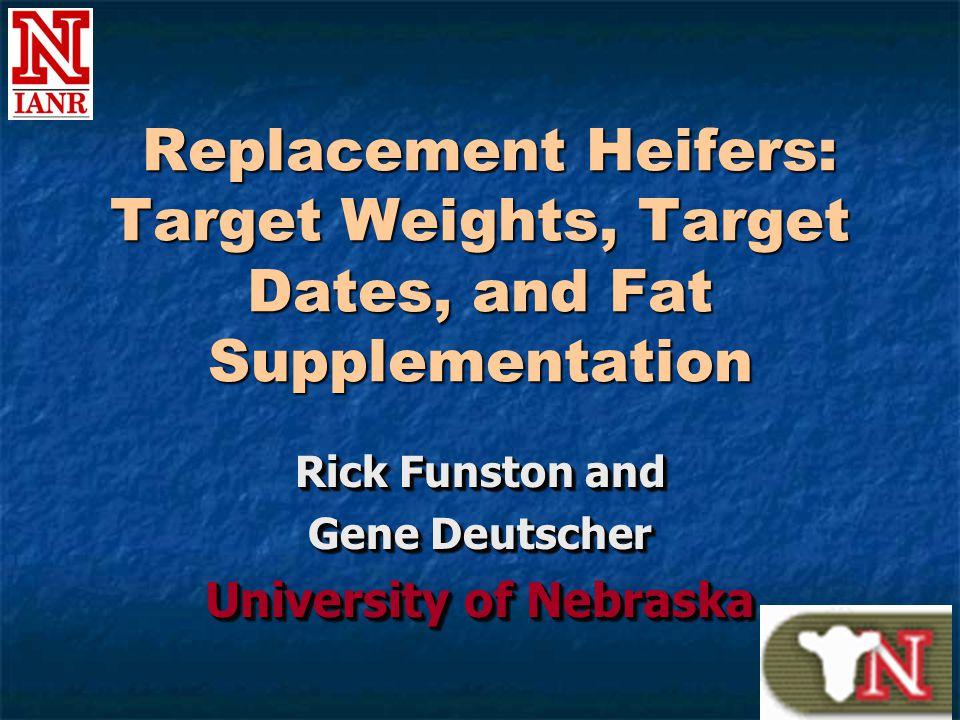 Replacement Heifers: Target Weights, Target Dates, and Fat Supplementation Replacement Heifers: Target Weights, Target Dates, and Fat Supplementation Rick Funston and Gene Deutscher University of Nebraska Rick Funston and Gene Deutscher University of Nebraska
