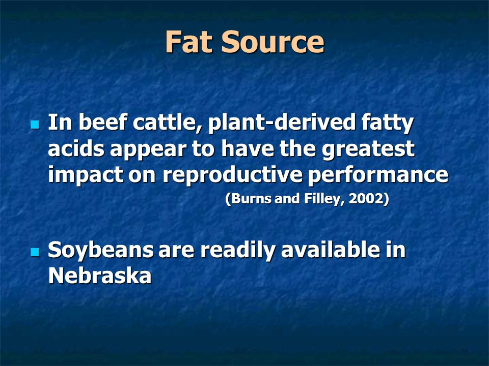 Fat Source In beef cattle, plant-derived fatty acids appear to have the greatest impact on reproductive performance In beef cattle, plant-derived fatt