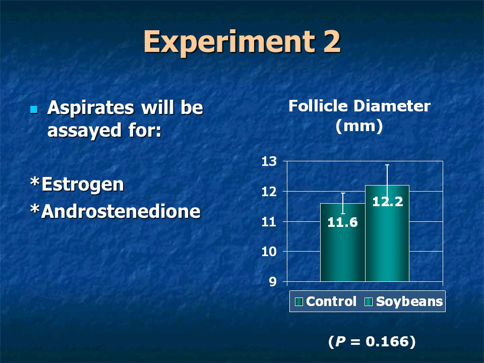 Experiment 2 Aspirates will be assayed for: Aspirates will be assayed for:*Estrogen*Androstenedione (P = 0.166)