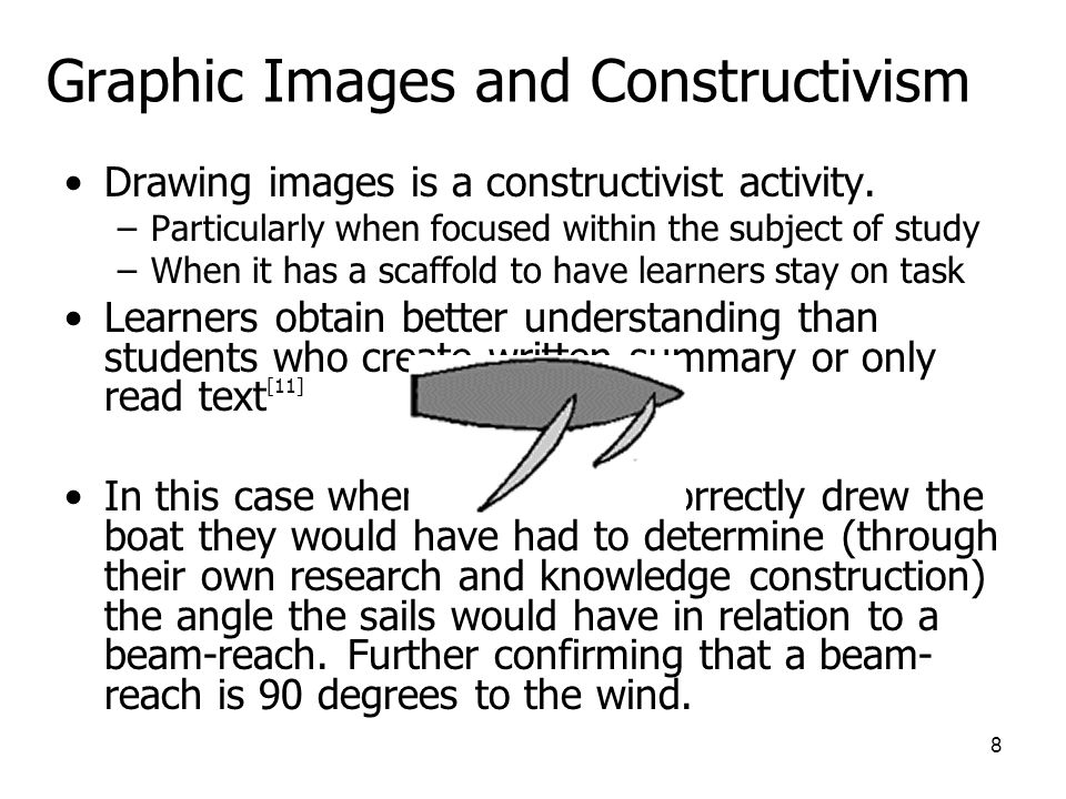 8 Graphic Images and Constructivism Drawing images is a constructivist activity.