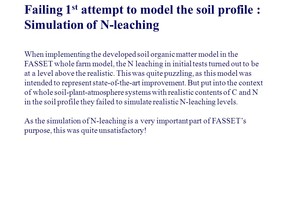Failing 1 st attempt to model the soil profile : Simulation of N-leaching When implementing the developed soil organic matter model in the FASSET whol