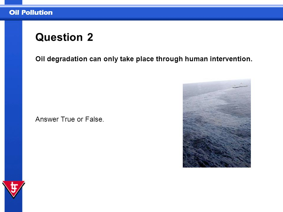 Oil Pollution 2 Oil degradation can only take place through human intervention. Answer True or False. Question