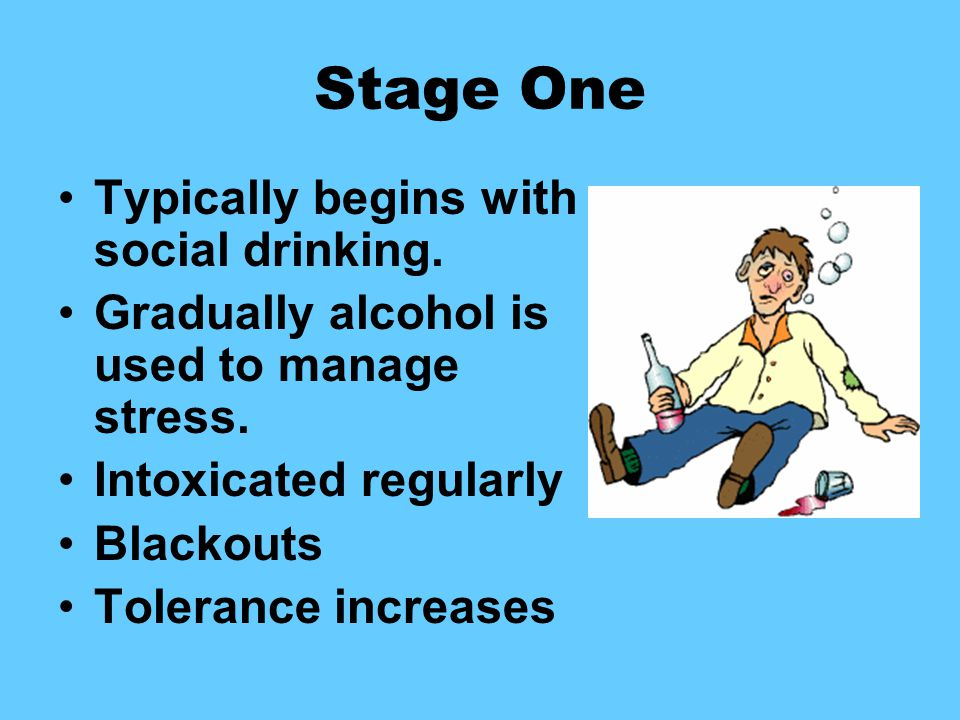 Stage One Typically begins with social drinking. Gradually alcohol is used to manage stress.