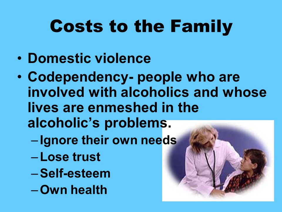 Costs to the Family Domestic violence Codependency- people who are involved with alcoholics and whose lives are enmeshed in the alcoholic's problems.