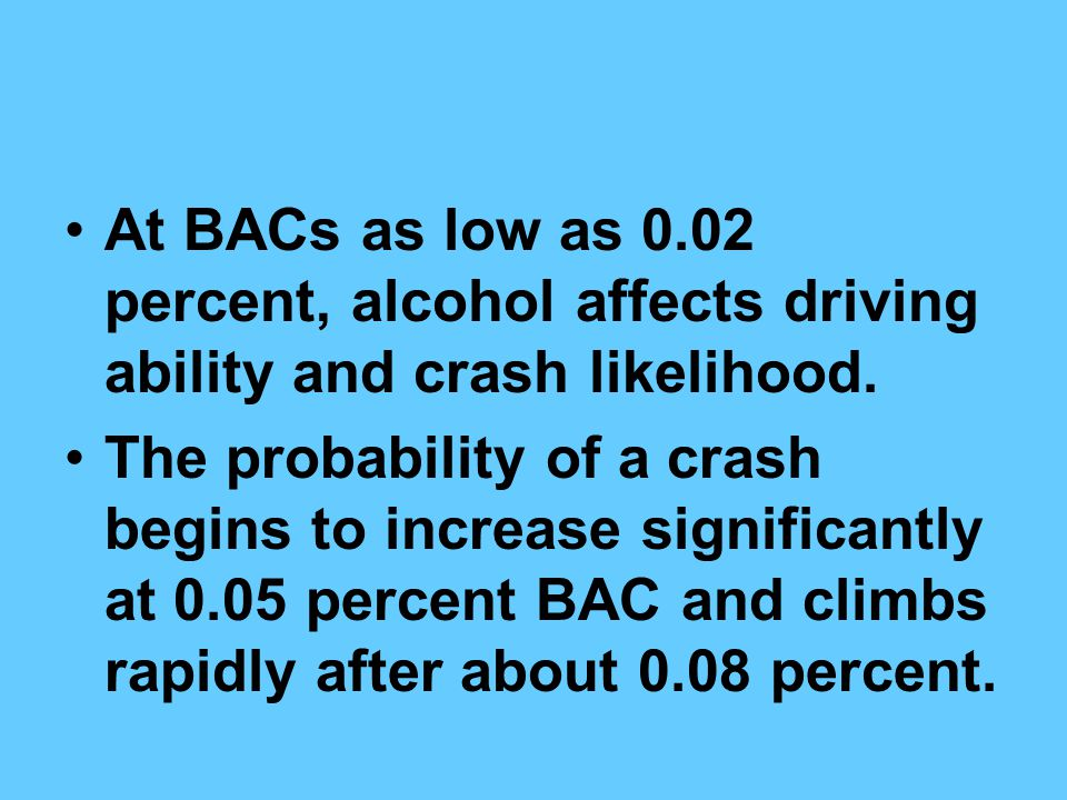 At BACs as low as 0.02 percent, alcohol affects driving ability and crash likelihood.