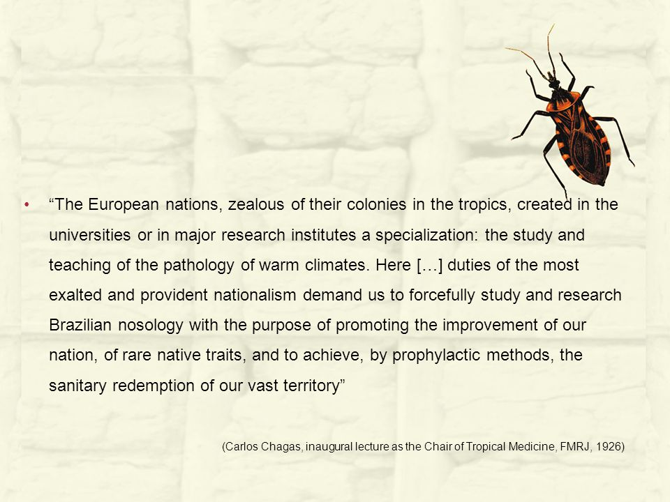 The European nations, zealous of their colonies in the tropics, created in the universities or in major research institutes a specialization: the study and teaching of the pathology of warm climates.