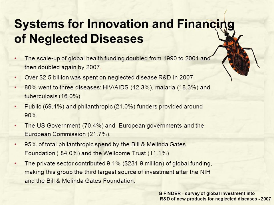 Systems for Innovation and Financing of Neglected Diseases The scale-up of global health funding doubled from 1990 to 2001 and then doubled again by 2007.