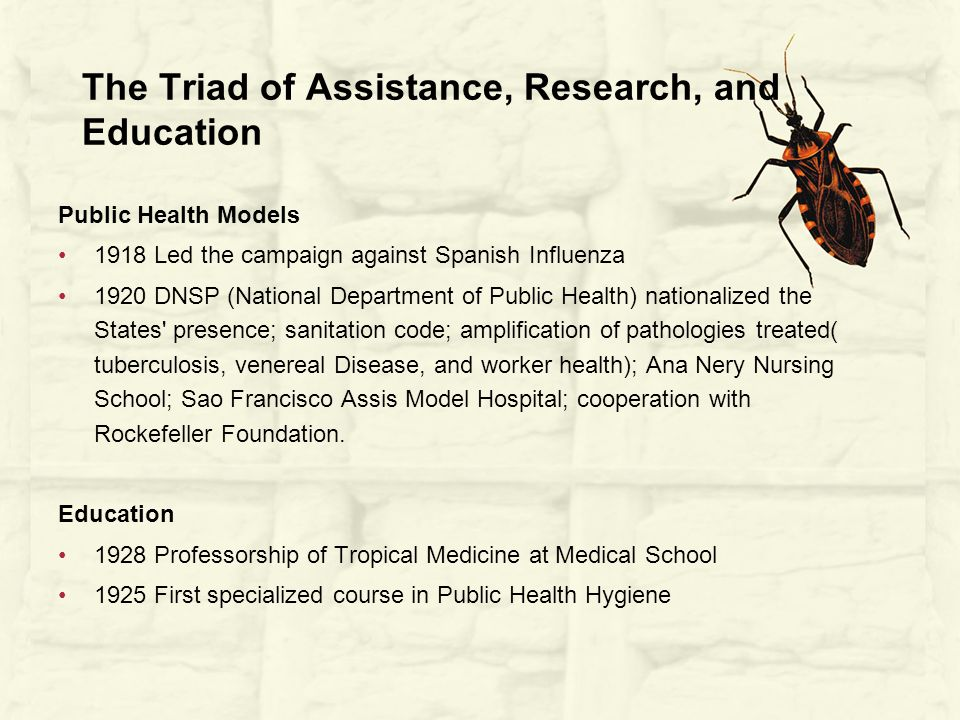 The Triad of Assistance, Research, and Education Public Health Models 1918 Led the campaign against Spanish Influenza 1920 DNSP (National Department of Public Health) nationalized the States presence; sanitation code; amplification of pathologies treated( tuberculosis, venereal Disease, and worker health); Ana Nery Nursing School; Sao Francisco Assis Model Hospital; cooperation with Rockefeller Foundation.
