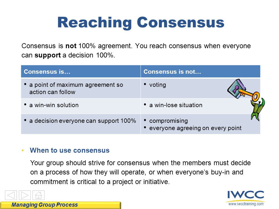 www.iwcctraining.com Consensus is not 100% agreement. You reach consensus when everyone can support a decision 100%. Consensus is…Consensus is not… a