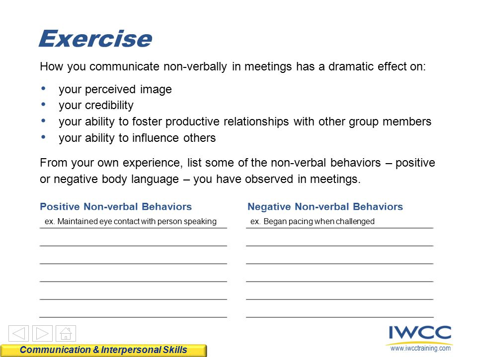 www.iwcctraining.com How you communicate non-verbally in meetings has a dramatic effect on: From your own experience, list some of the non-verbal beha