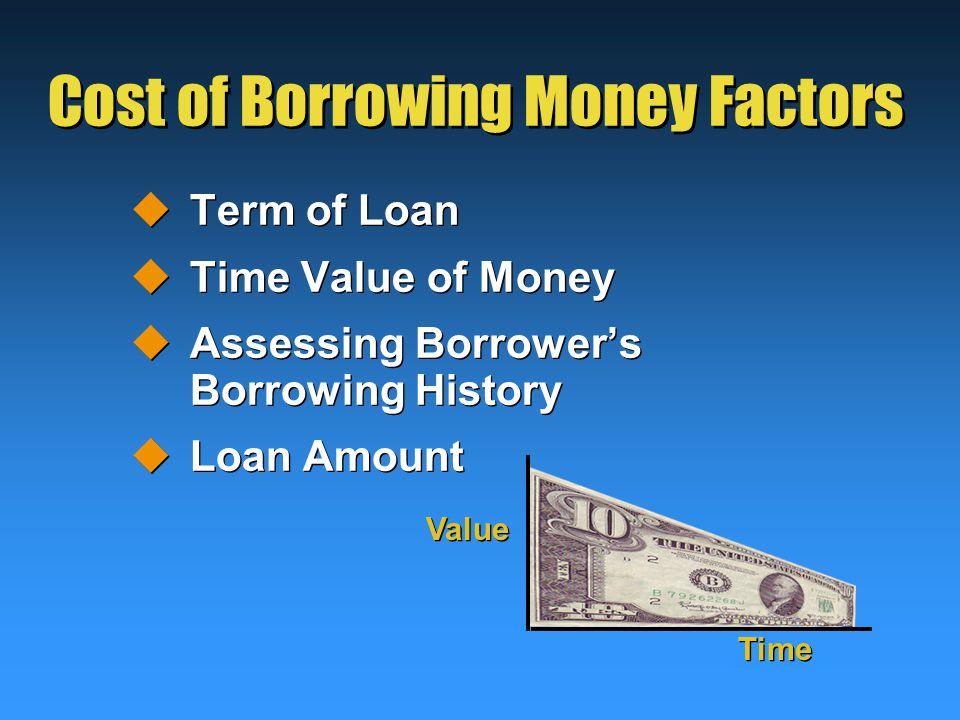 Cost of Borrowing Money Factors  Term of Loan  Time Value of Money  Assessing Borrower's Borrowing History  Loan Amount  Term of Loan  Time Value of Money  Assessing Borrower's Borrowing History  Loan Amount Value Time