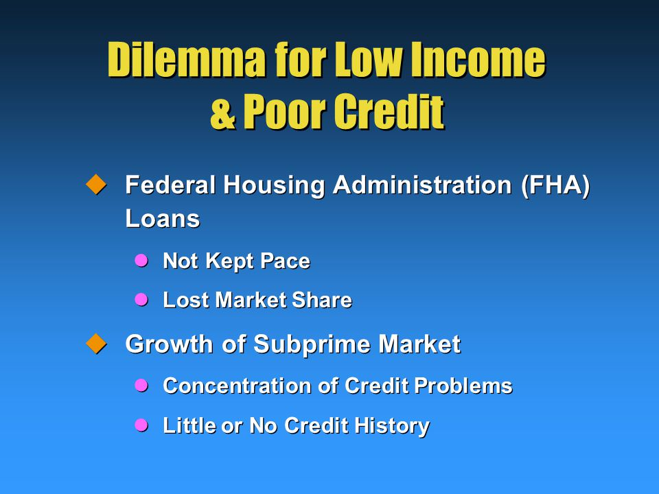 Dilemma for Low Income & Poor Credit  Federal Housing Administration (FHA) Loans Not Kept Pace Lost Market Share  Growth of Subprime Market Concentration of Credit Problems Little or No Credit History  Federal Housing Administration (FHA) Loans Not Kept Pace Lost Market Share  Growth of Subprime Market Concentration of Credit Problems Little or No Credit History