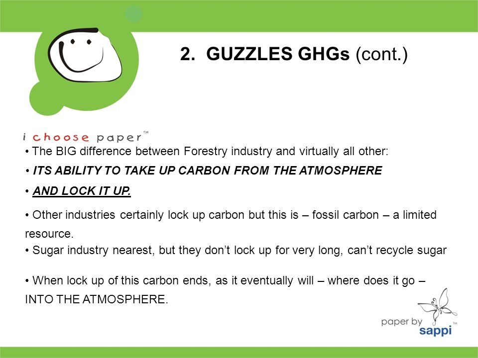 2. GUZZLES GHGs (cont.) The BIG difference between Forestry industry and virtually all other: ITS ABILITY TO TAKE UP CARBON FROM THE ATMOSPHERE AND LO