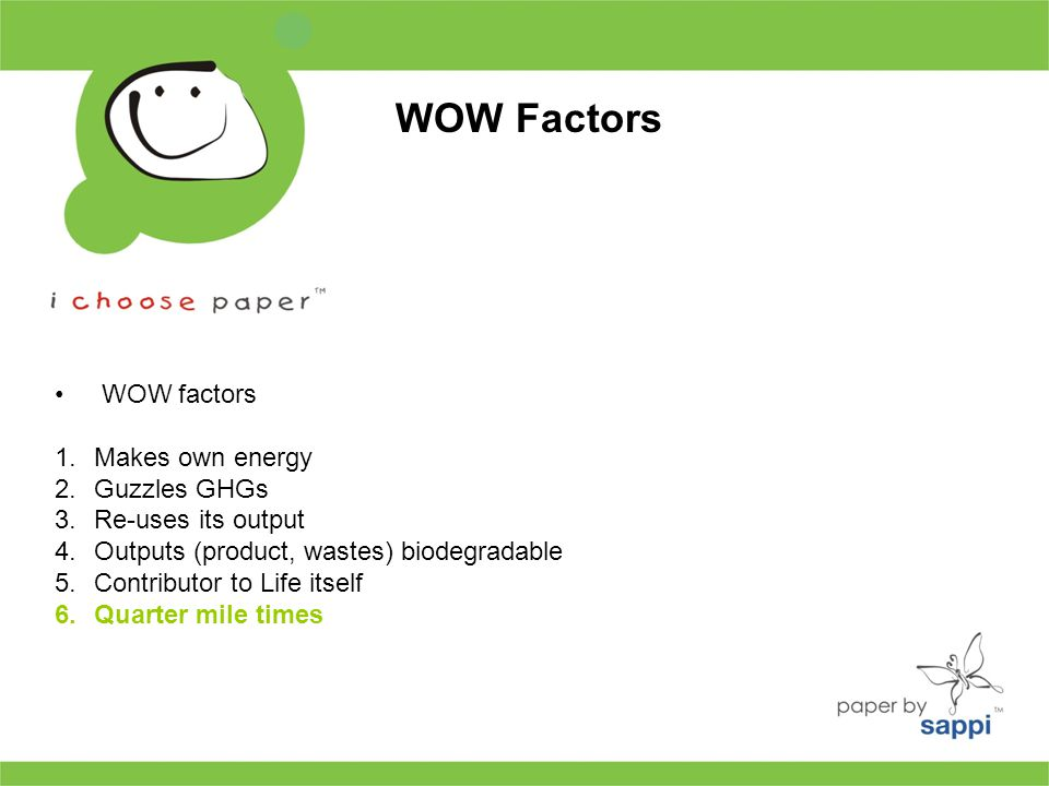 WOW factors 1.Makes own energy 2.Guzzles GHGs 3.Re-uses its output 4.Outputs (product, wastes) biodegradable 5.Contributor to Life itself 6.Quarter mile times WOW Factors