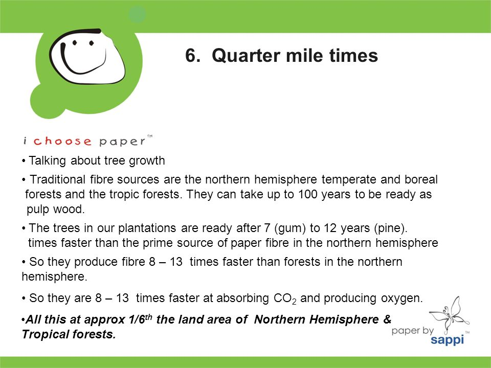So they produce fibre 8 – 13 times faster than forests in the northern hemisphere.
