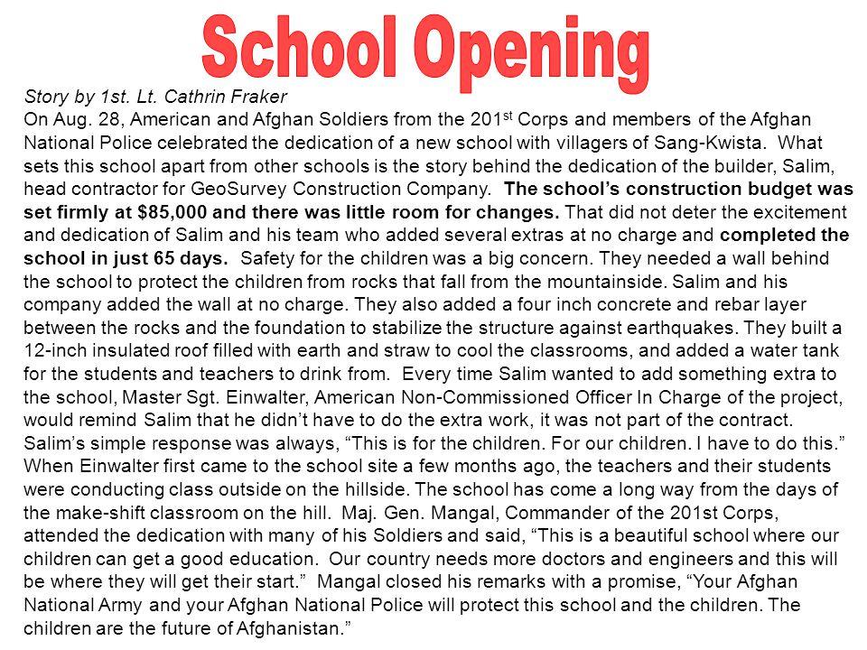 Story by 1st. Lt. Cathrin Fraker On Aug.
