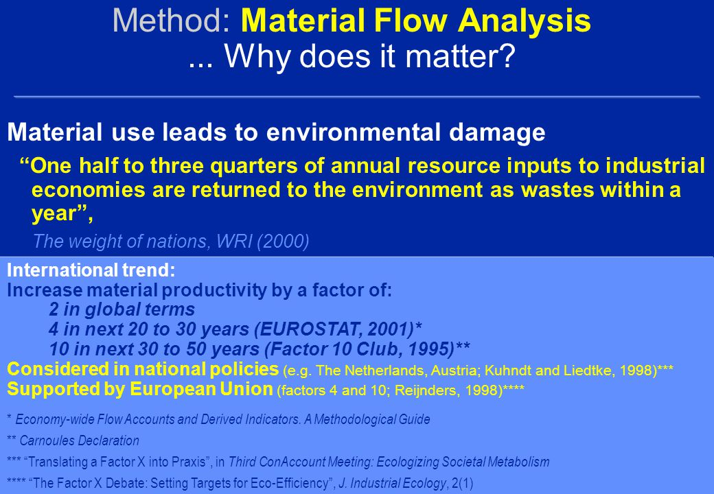 Method: Material Flow Analysis... Why does it matter.