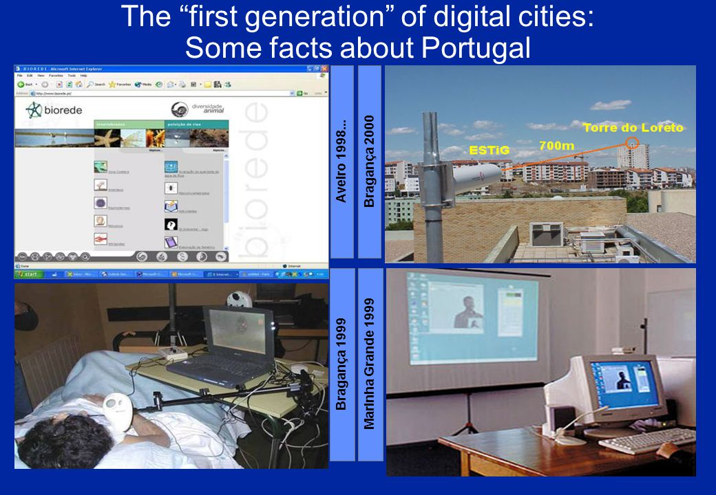 The first generation of digital cities: Some facts about Portugal Bragança 1999 Marinha Grande 1999 Aveiro 1998...
