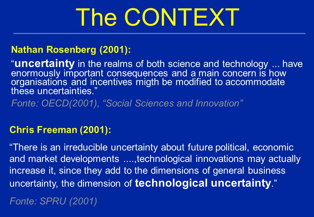 The CONTEXT Nathan Rosenberg (2001): uncertainty in the realms of both science and technology...
