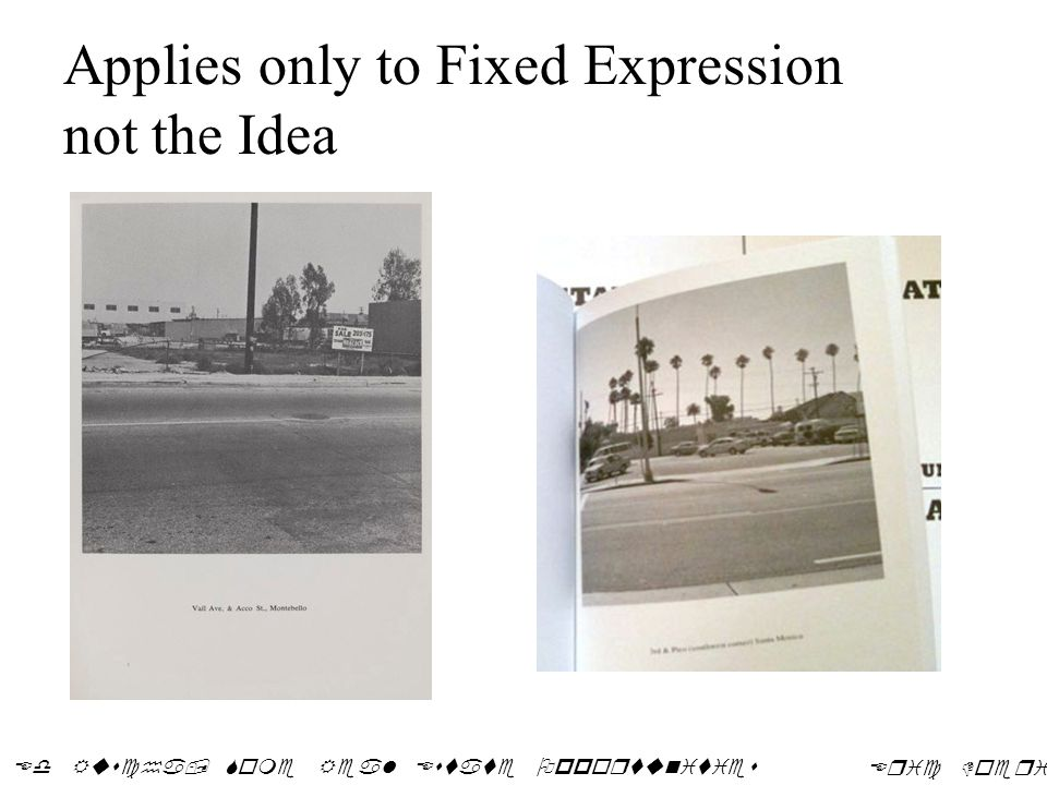 Applies only to Fixed Expression not the Idea Ed Ruscha, Some Real Estate Opportunities Eric Doeringer