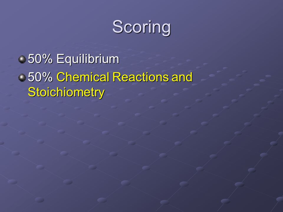 Scoring 50% Equilibrium 50% Chemical Reactions and Stoichiometry