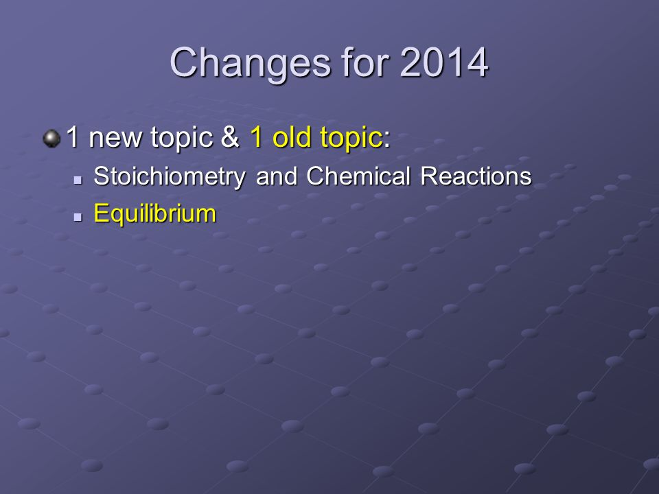 Changes for 2014 1 new topic & 1 old topic: Stoichiometry and Chemical Reactions Stoichiometry and Chemical Reactions Equilibrium Equilibrium