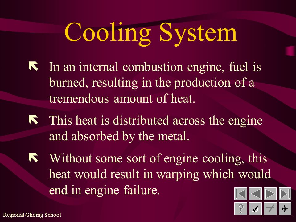 Regional Gliding School A B C D Octane cooled Liquid cooled Air cooled Both B and C Let s try a few review questions on Aero Engines: Question #4 - How is cooling of the engine accomplished.