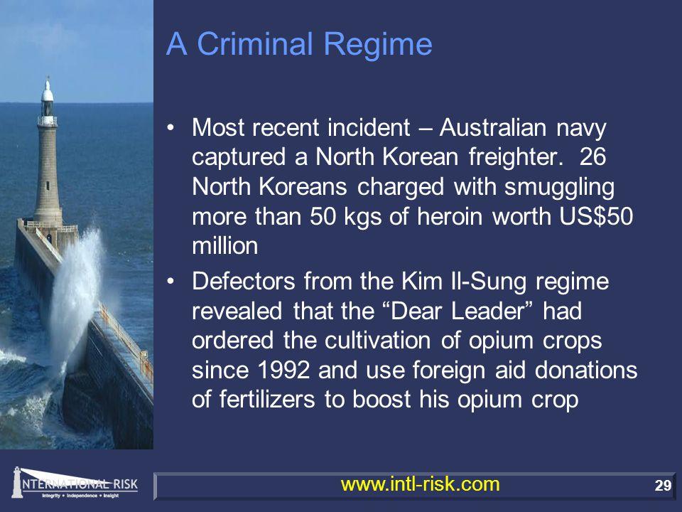 29 www.intl-risk.com A Criminal Regime Most recent incident – Australian navy captured a North Korean freighter.