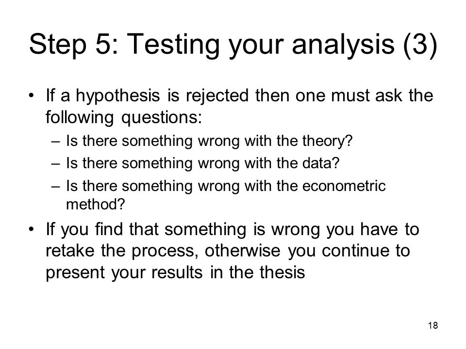 18 Step 5: Testing your analysis (3) If a hypothesis is rejected then one must ask the following questions: –Is there something wrong with the theory.