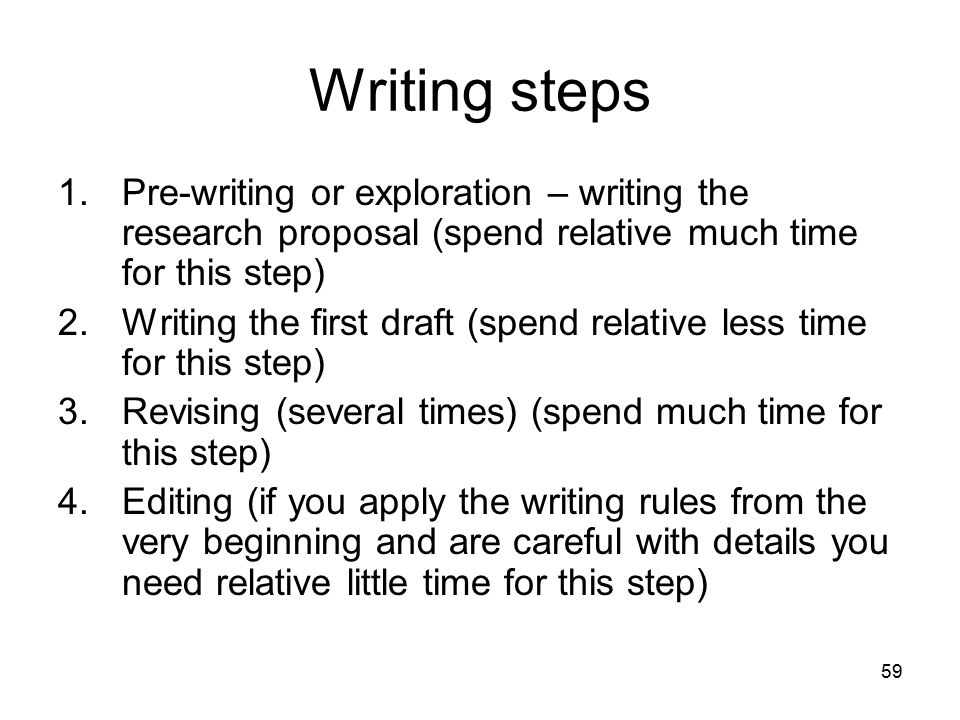59 Writing steps 1.Pre-writing or exploration – writing the research proposal (spend relative much time for this step) 2.Writing the first draft (spend relative less time for this step) 3.Revising (several times) (spend much time for this step) 4.Editing (if you apply the writing rules from the very beginning and are careful with details you need relative little time for this step)