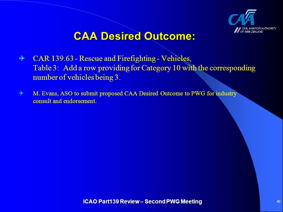 CAA Desired Outcome: CAA Desired Outcome:  CAR 139.63 - Rescue and Firefighting - Vehicles, Table 3: Add a row providing for Category 10 with the cor