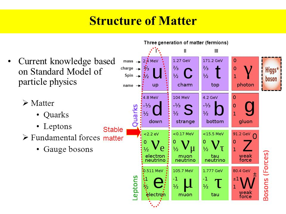 Three generation of matter (fermions) I II III mass charge Spin name Current knowledge based on Standard Model of particle physics  Matter Quarks Leptons  Fundamental forces Gauge bosons Structure of Matter Stable matter