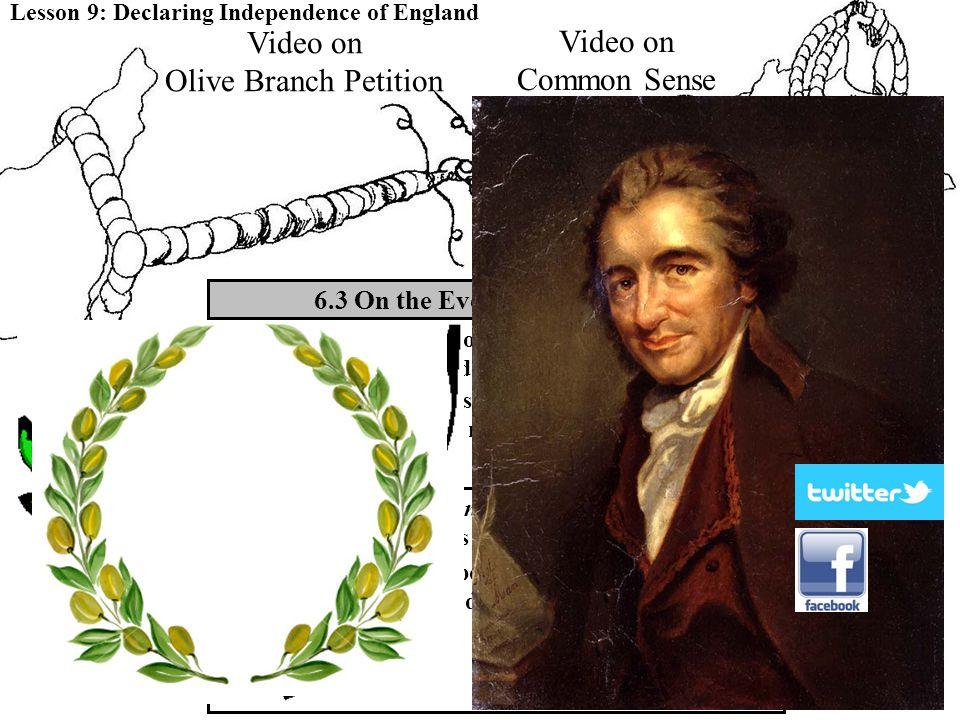 6.3 On the Eve of Independence Lesson 9: Declaring Independence of England The Olive Branch Petition weakened the ties between the colonies and Britai