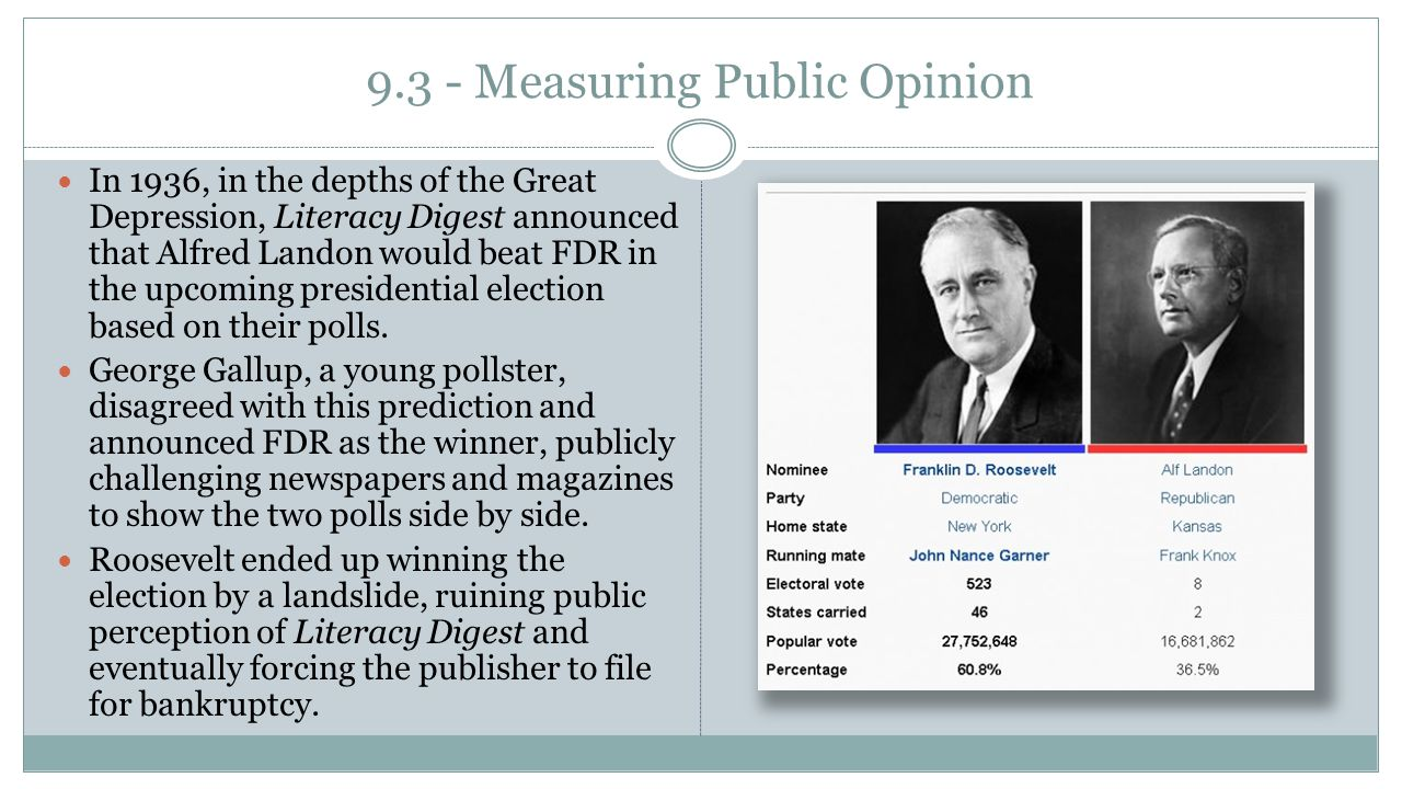9.3 - Measuring Public Opinion In 1936, in the depths of the Great Depression, Literacy Digest announced that Alfred Landon would beat FDR in the upco