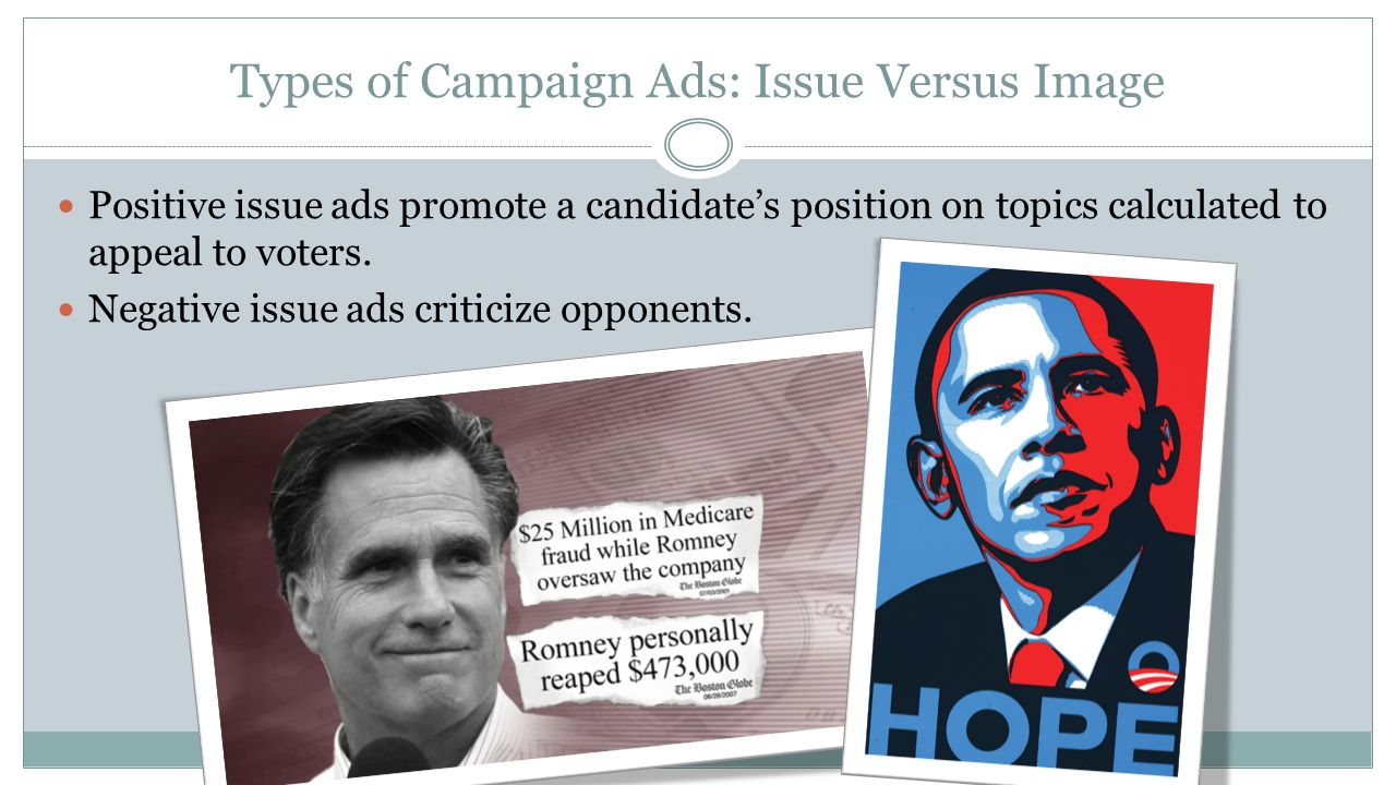 Types of Campaign Ads: Issue Versus Image Positive issue ads promote a candidate's position on topics calculated to appeal to voters. Negative issue a