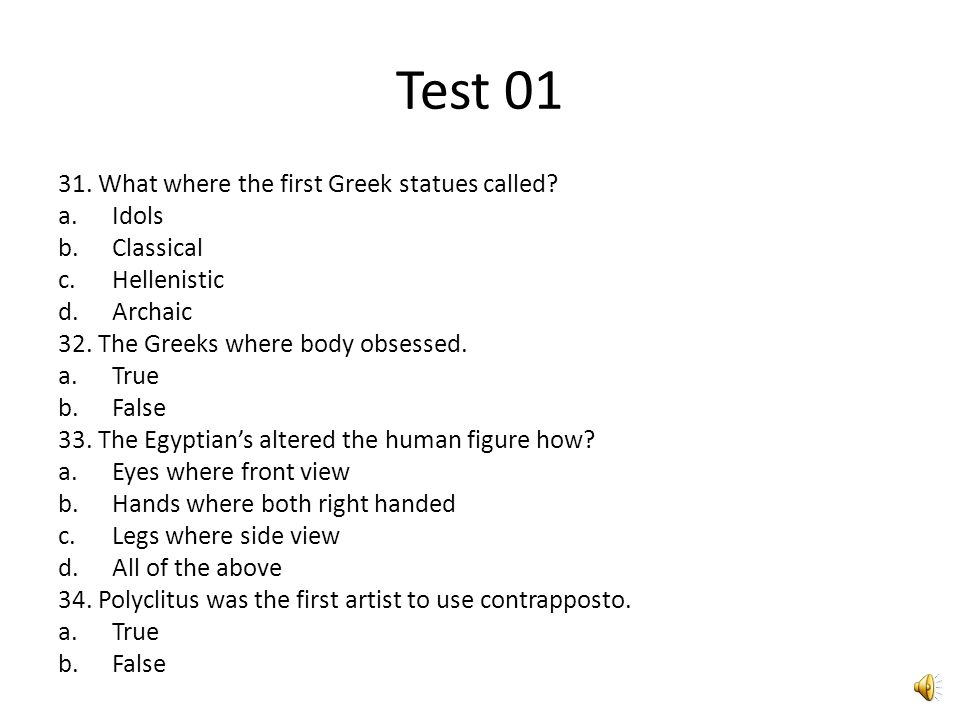 Test 01 26. Egypt was built on agriculture. a.True b.False 27.