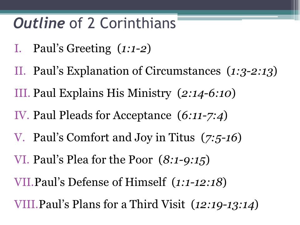 Outline of 2 Corinthians I.Paul's Greeting (1:1-2) II.Paul's Explanation of Circumstances (1:3-2:13) III.Paul Explains His Ministry (2:14-6:10) IV.Paul Pleads for Acceptance (6:11-7:4) V.Paul's Comfort and Joy in Titus (7:5-16) VI.Paul's Plea for the Poor (8:1-9:15) VII.Paul's Defense of Himself (1:1-12:18) VIII.Paul's Plans for a Third Visit (12:19-13:14)