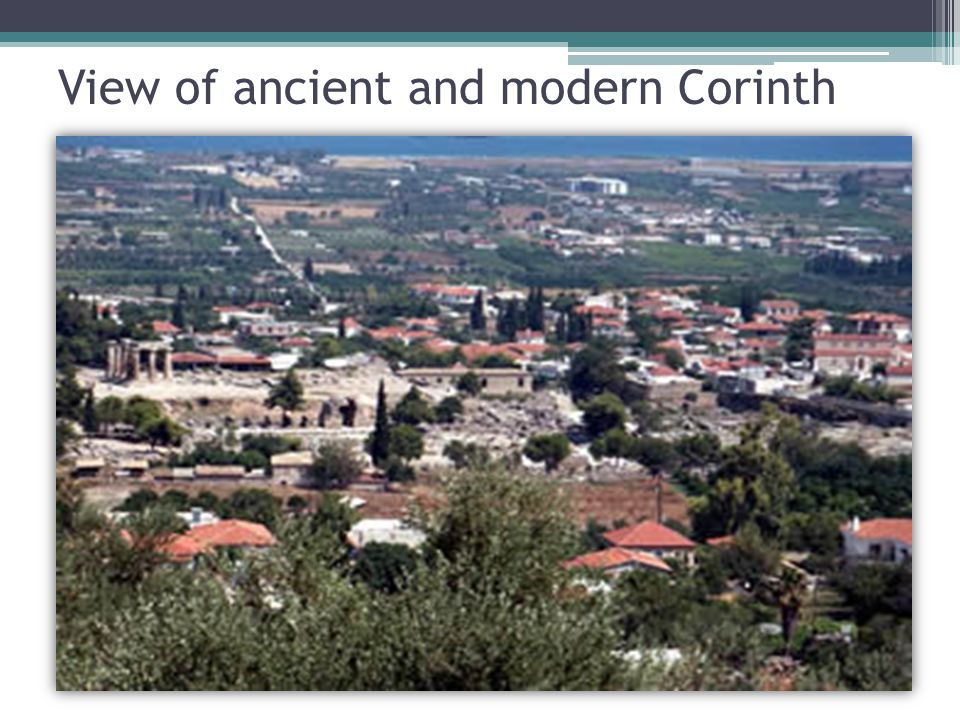 View of ancient and modern Corinth