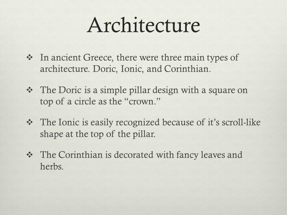 Doric, Ionic, Corinthian