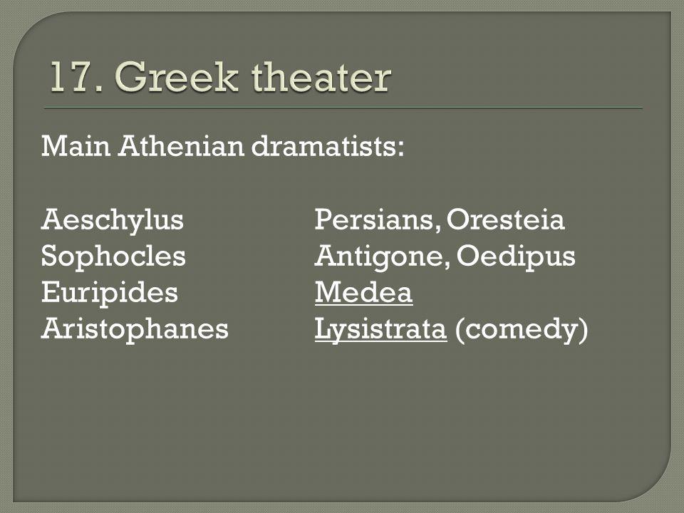 Main Athenian dramatists: AeschylusPersians, Oresteia SophoclesAntigone, Oedipus EuripidesMedea AristophanesLysistrata (comedy)