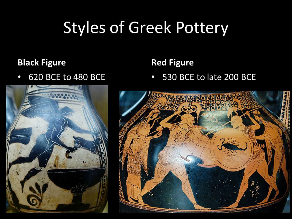 Styles of Greek Pottery Black Figure 620 BCE to 480 BCE Red Figure 530 BCE to late 200 BCE