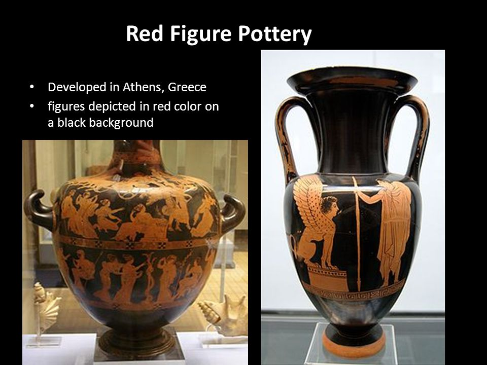 Red Figure Pottery Developed in Athens, Greece figures depicted in red color on a black background