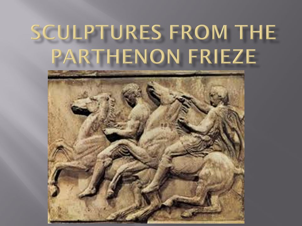 The Parthenon frieze is the low-relief pentelic marble sculpture created to adorn the upper part of the Parthenon's naos.