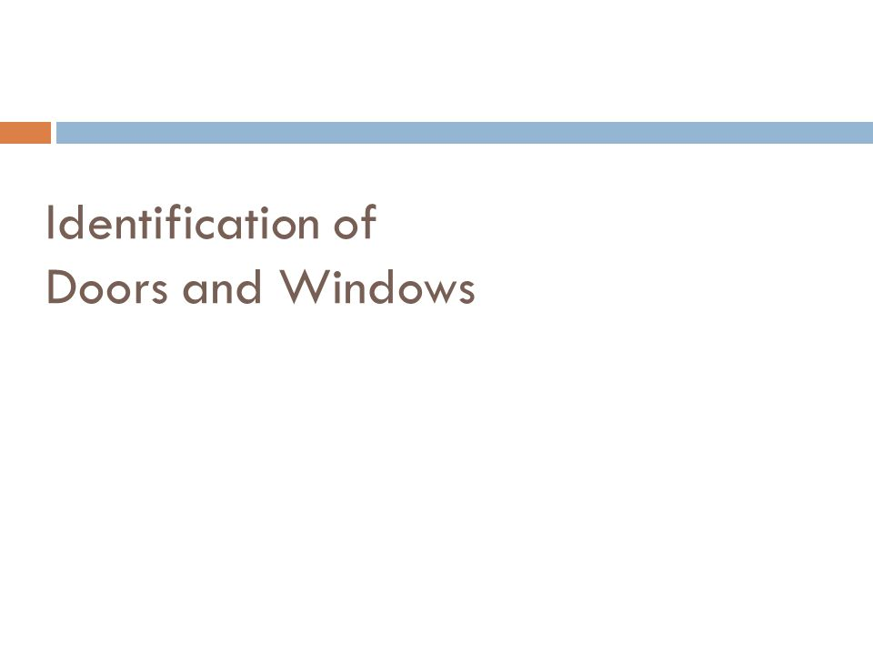 Identification of Doors and Windows