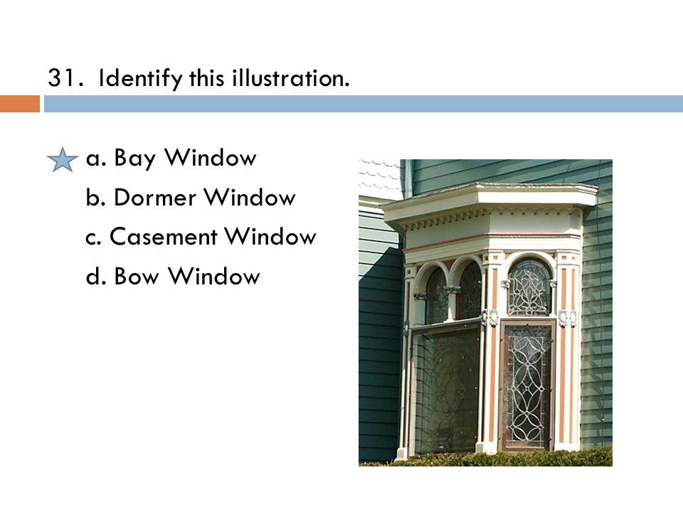 31. Identify this illustration. a. Bay Window b. Dormer Window c. Casement Window d. Bow Window